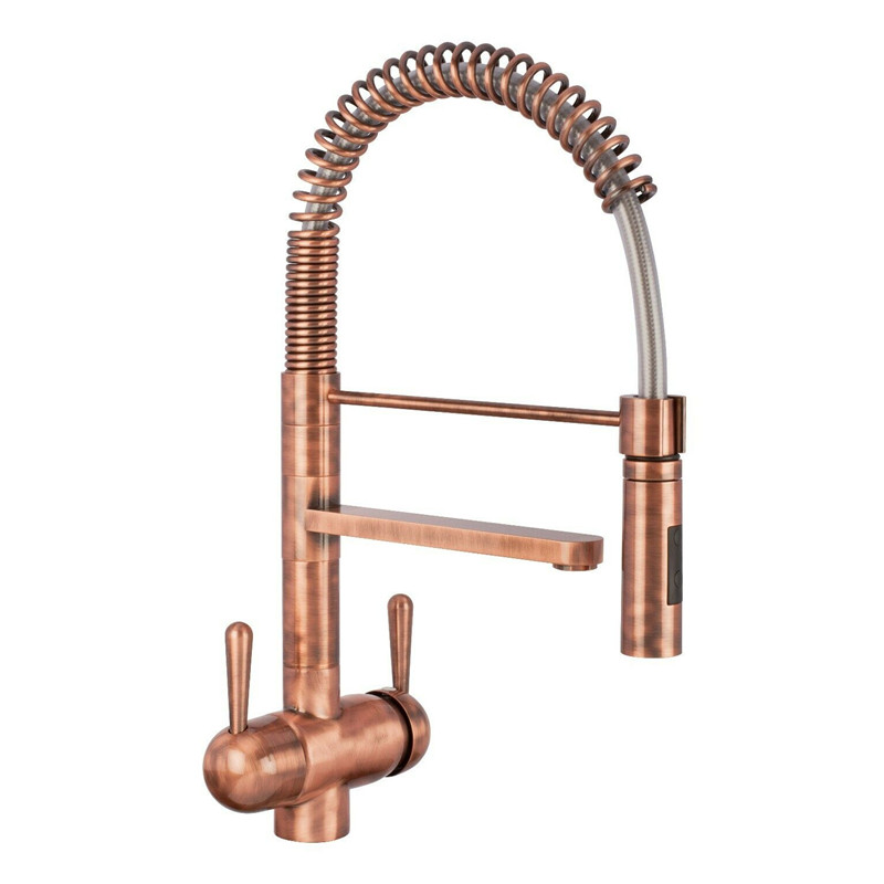ROLYA Red Copper 3-Way Tap Tri-Flow Pull-Out-Hose Spray Kitchen Mixer