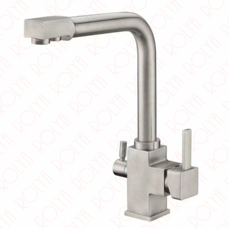 rolya brushed nickle kitchen faucets 3 way water filter taps